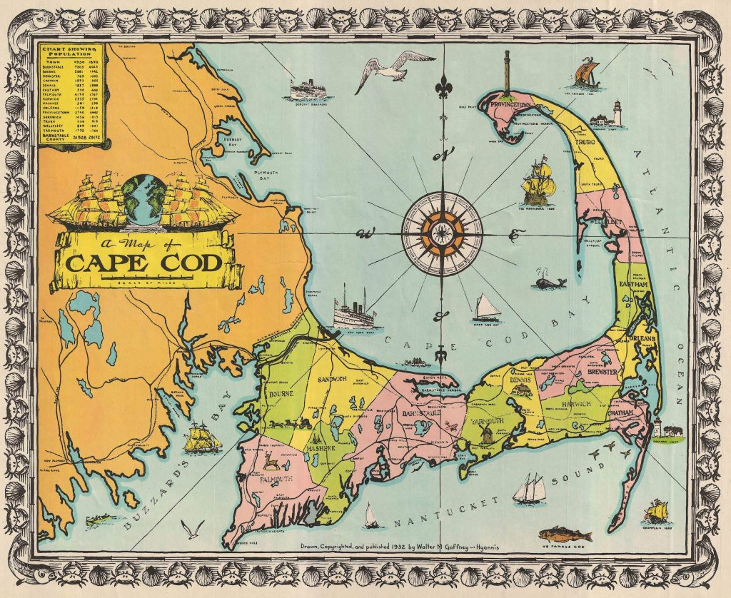 A figurative map that illustrate the character, famous places, and historical appeal of Cape Cod.