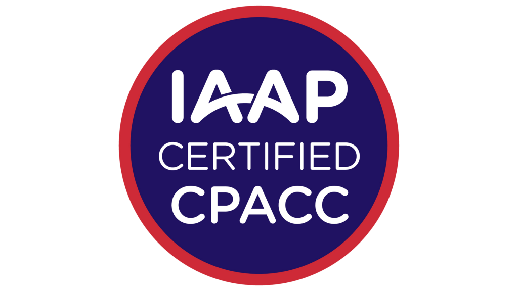 Round badge with 'IAAP Certified CPACC'.