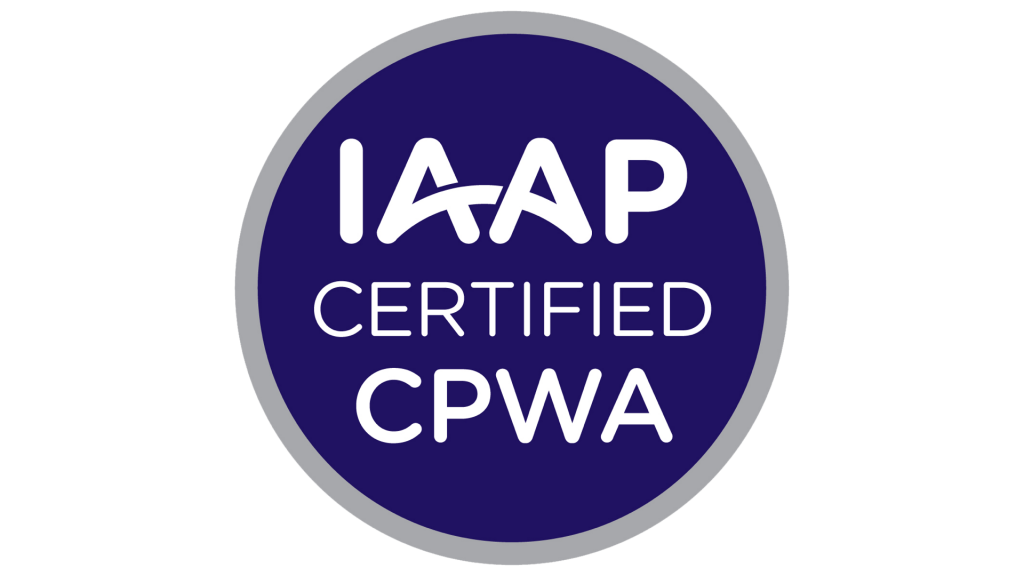 Round badge with 'IAAP Certified CPWA'.