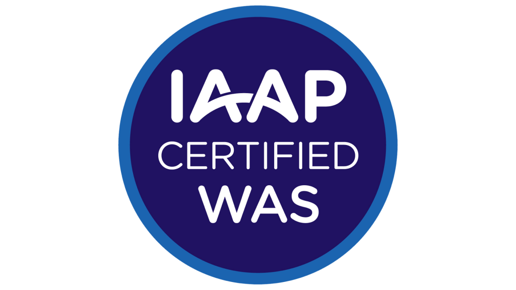 Round badge with 'IAAP Certified WAS'.