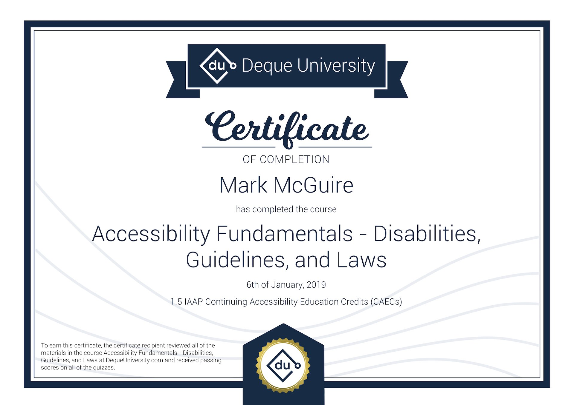 Deque University Certificate