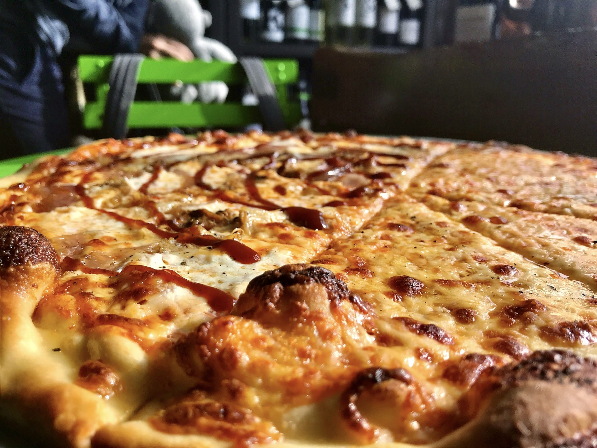 Close up of the Brown Jug pizza.