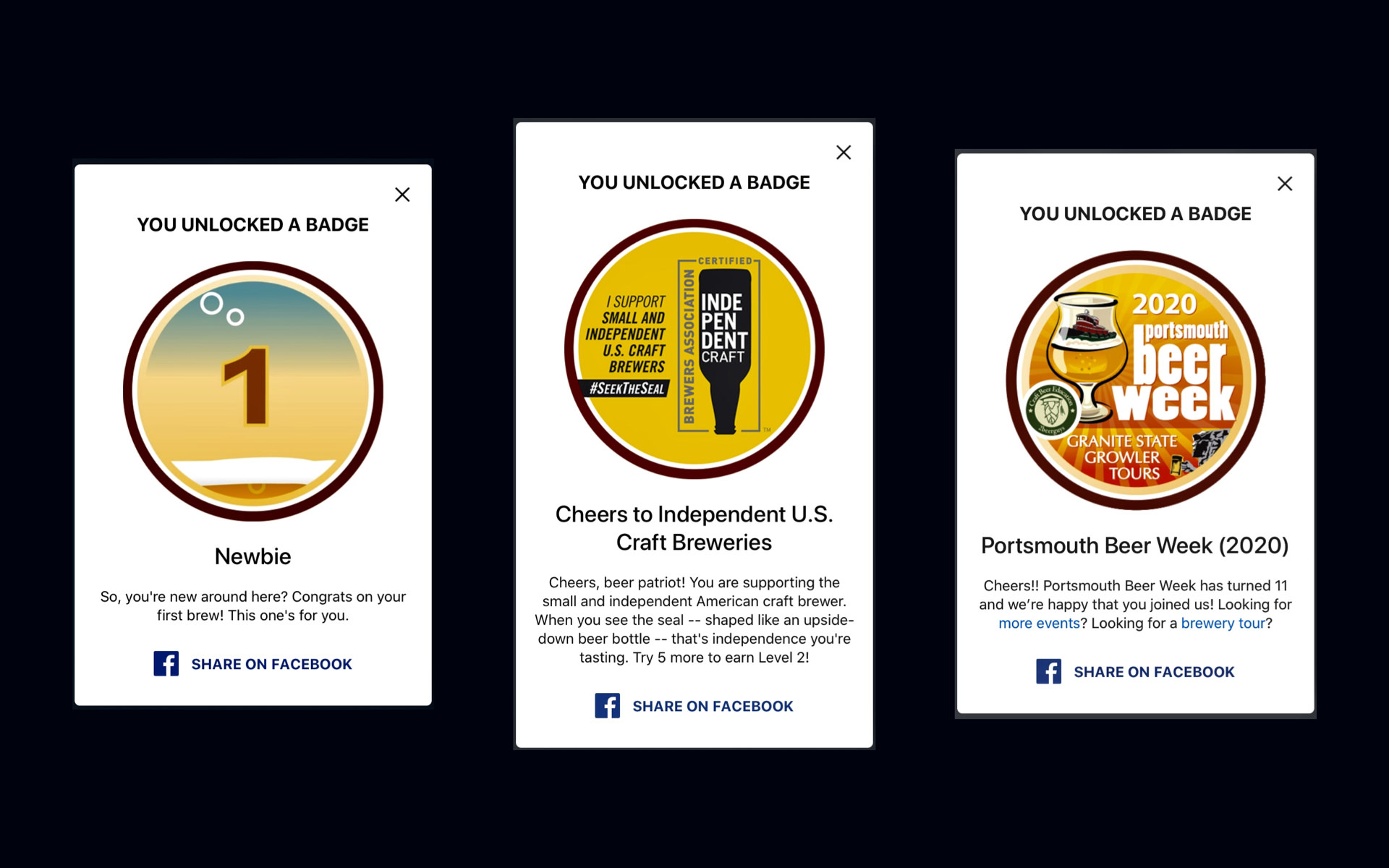 Three Untappd badges from left to right, Newbie, Cheers to Independent U.S. Craft Breweries, and Portsmouth Beer Week (2020).